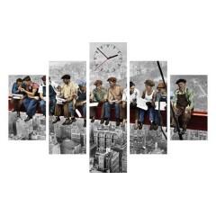 5-dielny obraz s hodinami,NY Robotníci, 100x70cm