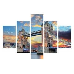 5-dielny obraz s hodinami, TOWER BRIDGE, 100x70cm