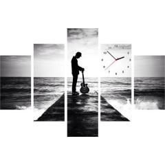 5-dielny obraz s hodinami, Sound, 100x70cm