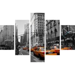 5-dielny obraz s hodinami, New York Taxi, 100x70cm
