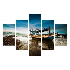 5-dielny obraz s hodinami, Rybárska Loď, 100x70cm