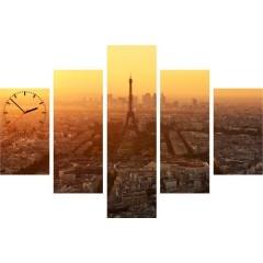 5-dielny obraz s hodinami, Eiffelova veža, 100x70cm