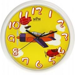 Detské nástenné hodiny MPM, 3088.0010.SW - biela/žltá, 25cm