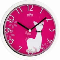 Detské nástenné hodiny MPM, 3089.0020.SW - biela/červená, 26cm