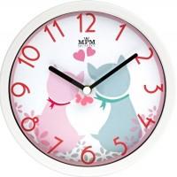 Detské nástenné hodiny MPM, 3089.0023.SW - biela/ružová, 26cm