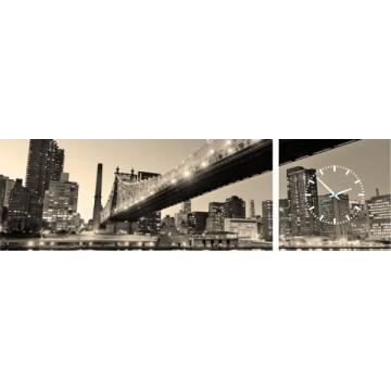 2-dielny obraz s hodinami, Panorama, sepia, 158x46cm