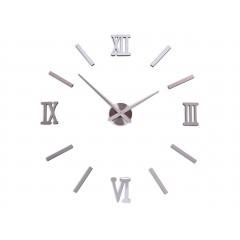 3D nalepovacie hodiny DIY HAPI, 80-100 cm, strieborné