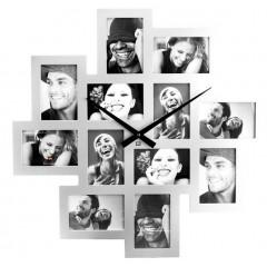 Hodiny 12 fotorámov biele Present Time strieborné 65cm