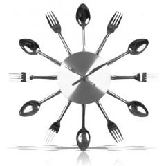 Nástenné hodiny do kuchyne Vidličky, 37cm