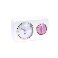 Kuchynské hodiny s časovačom Present Time Nostalgia, PT2970WH, 17cm
