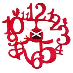 Nástenné hodiny PI:P transparentná-červená, 45cm
