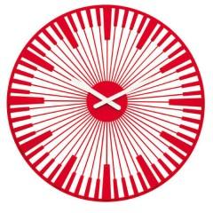 Nástenné hodiny PIANO transp. červená, Koziol, 45cm