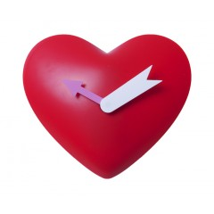 Nástenné hodiny Heart, červené, 25cm