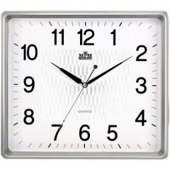 Nástenné hodiny MPM, 2929.7000.SW - strieborná/biela, 36cm