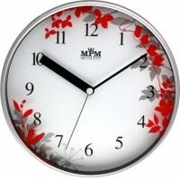 Nástenné hodiny MPM, 3087.7220 - strieborná matná/červená, 30cm