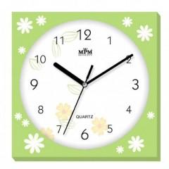Nástenné hodiny MPM, 2972.41.YA - zelená svetlá, 25cm