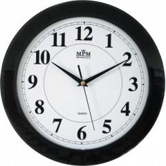 Nástenné hodiny MPM, 2460.90.SW - čierna, 31cm