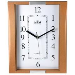Nástenné hodiny MPM, 2502.5070 - hnedá/strieborná, 25cm