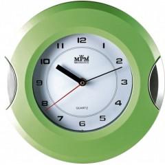 Nástenné hodiny MPM, 2506.4170 - zelená svetlá/strieborná, 27cm