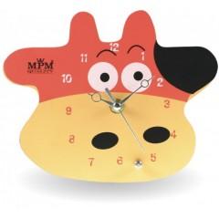 Nástenné hodiny MPM, 2518.5120 - hnedá svetlá/červená, 20cm