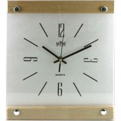 Nástenné hodiny MPM, 2511.7051 - strieborná/hnedá svetlá, 38cm