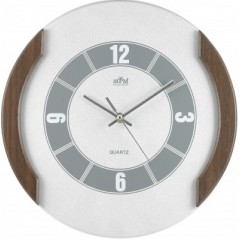 Nástenné hodiny MPM, 2515.7052 - strieborná/hnedá tmavá, 33cm