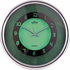 Nástenné hodiny MPM, 2522.4070 - zelená/strieborná, 31cm