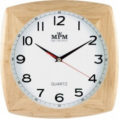 Nástenné hodiny MPM, 2533.51.W - hnedá svetlá, 29cm