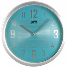 Nástenné hodiny MPM, 2825.7031 - strieborná/modrá svetlá, 25cm