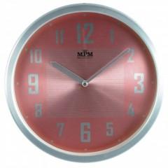 Nástenné hodiny MPM, 2825.7023 - strieborná/ružová, 25cm