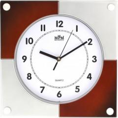Nástenné hodiny MPM, 2805.7050 - strieborná/hnedá, 32cm