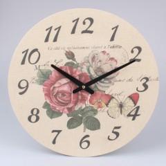 Nástenné hodiny na plátne Ruže, 39cm