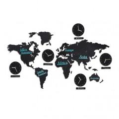 Mapa sveta s hodinami RD0877, čierna