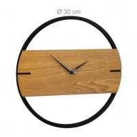 Moderné nástenné hodiny drevo a kov RD4281, čierne