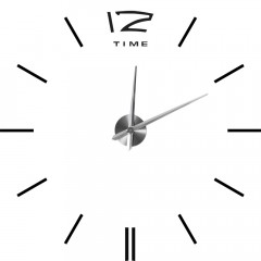 3D Nalepovacie hodiny DIY Clock BIG Time Espa, Čierne 80-130cm
