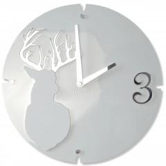 Nástenné akrylové hodiny Jeleň Flex z66d-2, 30 cm, biele matné