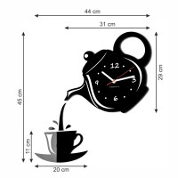 Kuchynské hodiny šálka Flex z52, 45 cm, čierne