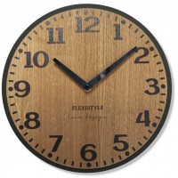 Drevené nástenné hodiny Elegante Flex z227-1d-1-x tmavohnedé, 30 cm