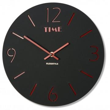 Nástenné akrylové hodiny Slim Flex z111b-1mat-3-x, 30 cm, čierne matné