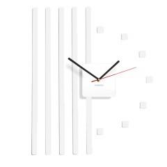 Nástenné akrylové hodiny štvorce Flex z10b, 58 cm, biele