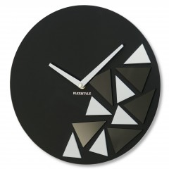 Nástenné akrylové hodiny Triangles Flex z205-1, 30 cm, čierne matné
