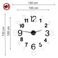 3D Nalepovacie hodiny DIY ADMIRABLE XL SWEEP 40ao-1, čierne 100-130cm