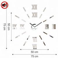 3D Nalepovacie hodiny DIY ADMIRABLE L SWEEP 54C-0, zrkadlové 50-75cm