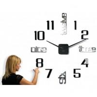 3D Nalepovacie hodiny DIY ADMIRABLE XL SWEEP 40F-1, čierne 100-130cm