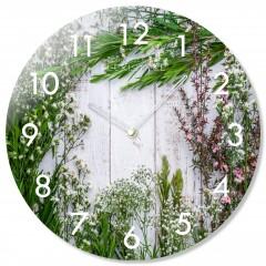 Nástenné sklenené hodiny Herbs Flex z67f s-2-x, 30 cm