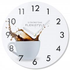 Nástenné sklenené hodiny Káva 2 z63b s-2-x, 30 cm
