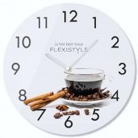 Nástenné sklenené hodiny Káva so škoricou 3 z63c s-2-x, 30 cm