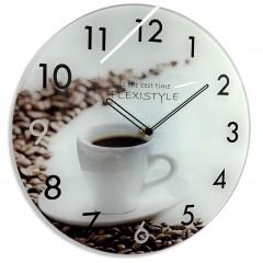 Nástenné sklenené hodiny Káva z63a s-1-x, 30 cm