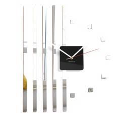 Nástenné akrylové hodiny štvorce Flex z10b, 58 cm, strieborné zrkadlo