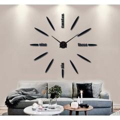 3D Nalepovacie hodiny DIY Clock BIG Twelve XL004bk, čierne 130cm